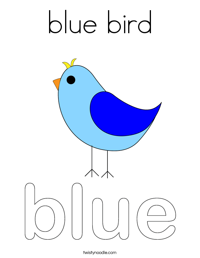 blue bird coloring page twisty noodle