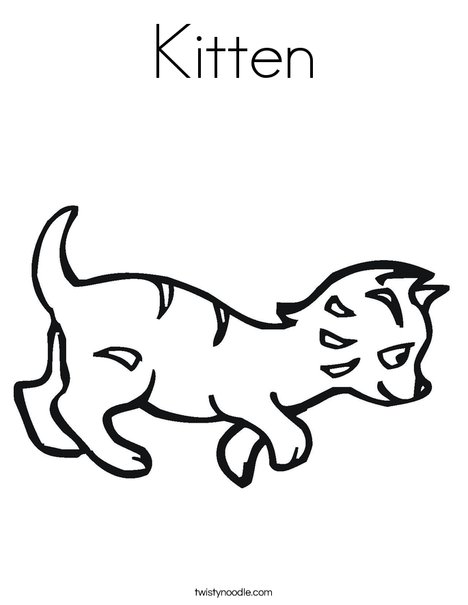 kitten coloring page twisty noodle