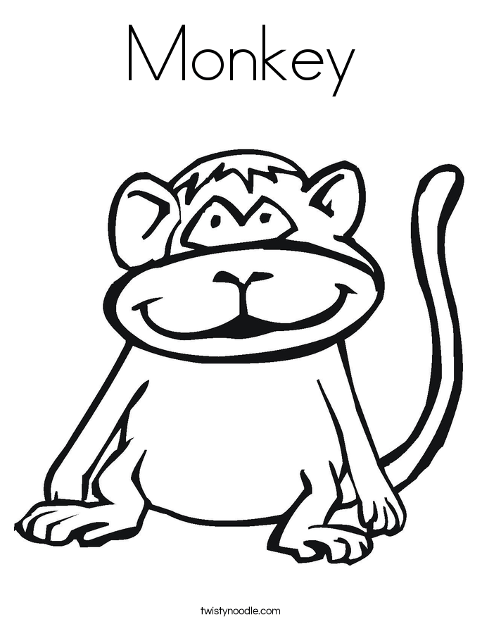 monkey coloring page twisty noodle
