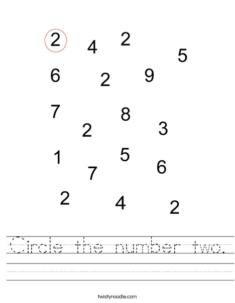 Circle The Number Two Worksheet Twisty Noodle