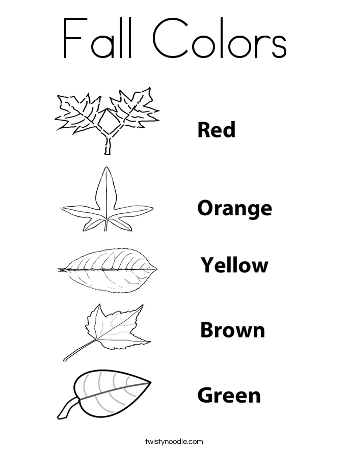 fall colors coloring page twisty noodle