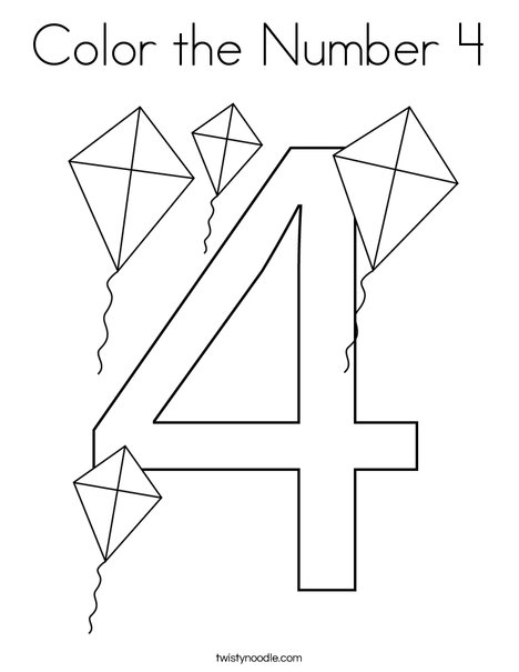 color the number 4 coloring page  twisty noodle