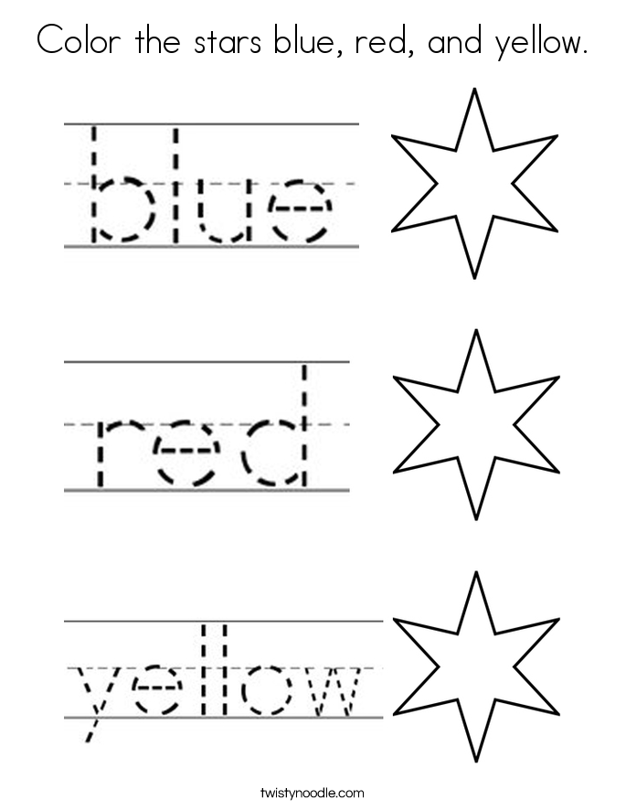 color the stars blue red and yellow coloring page