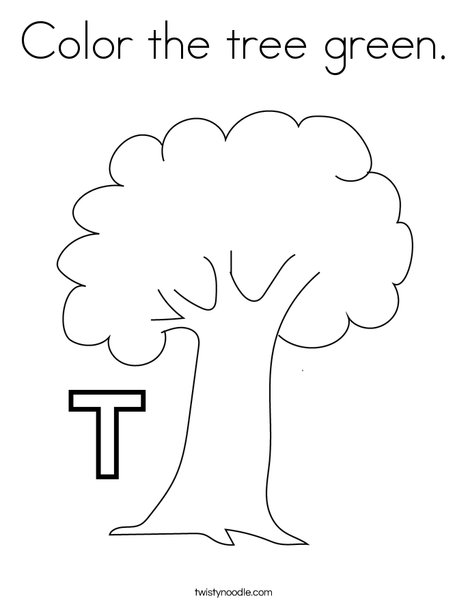 color the tree green coloring page  twisty noodle
