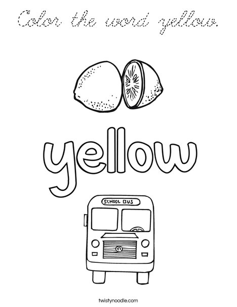 color the word yellow coloring page  cursive  twisty noodle