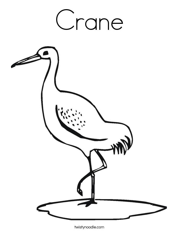 crane coloring page twisty noodle
