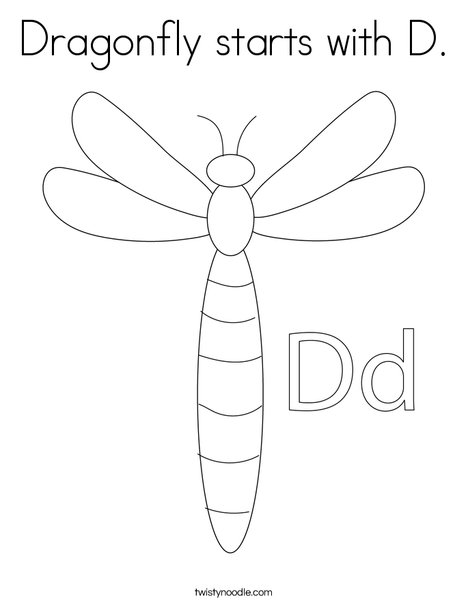 Dragonfly Starts With D Coloring Page Twisty Noodle