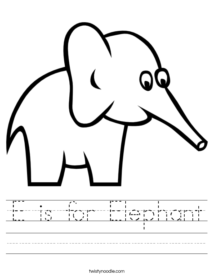 is for elephant worksheet twisty noodle