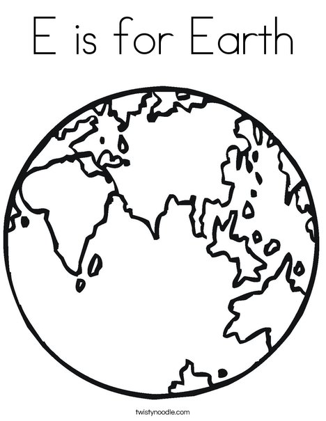 E Is For Earth Coloring Page Twisty Noodle