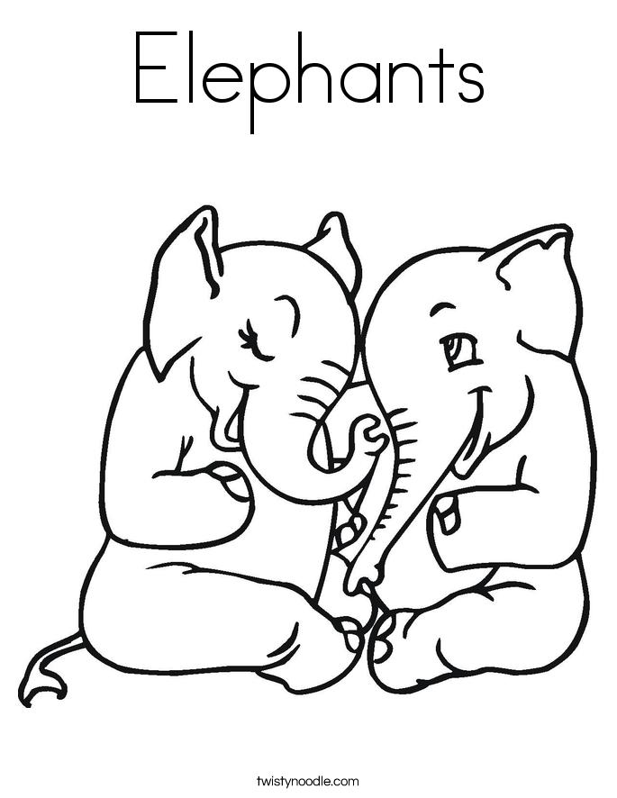 elephant coloring pages twisty noodle