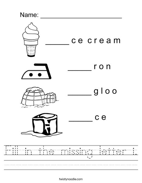 fill in the missing letter i worksheet twisty noodle