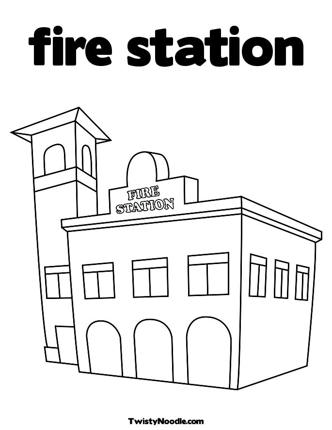 fire stations colouring pages
