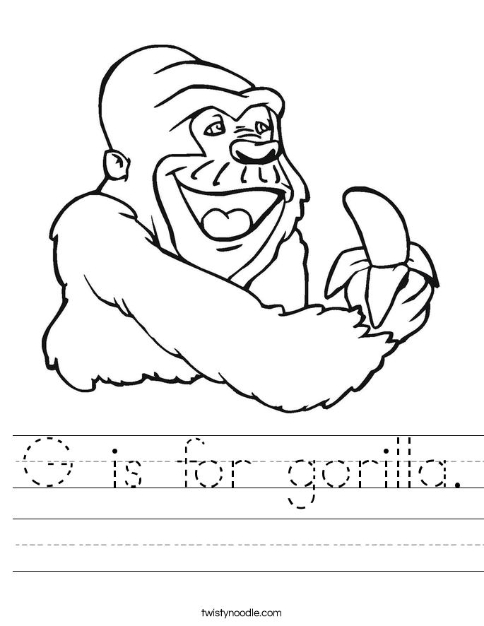 is for gorilla worksheet twisty noodle