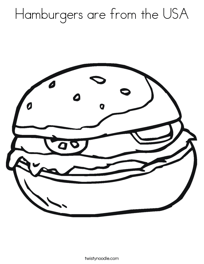 hamburgers are from the usa coloring page  twisty noodle