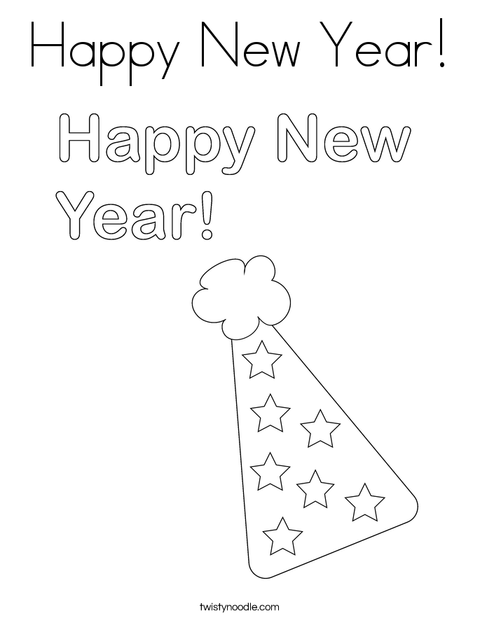 happy new year coloring page twisty noodle