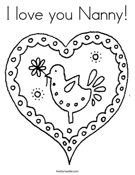 I Love You Nanny Coloring Page Twisty Noodle