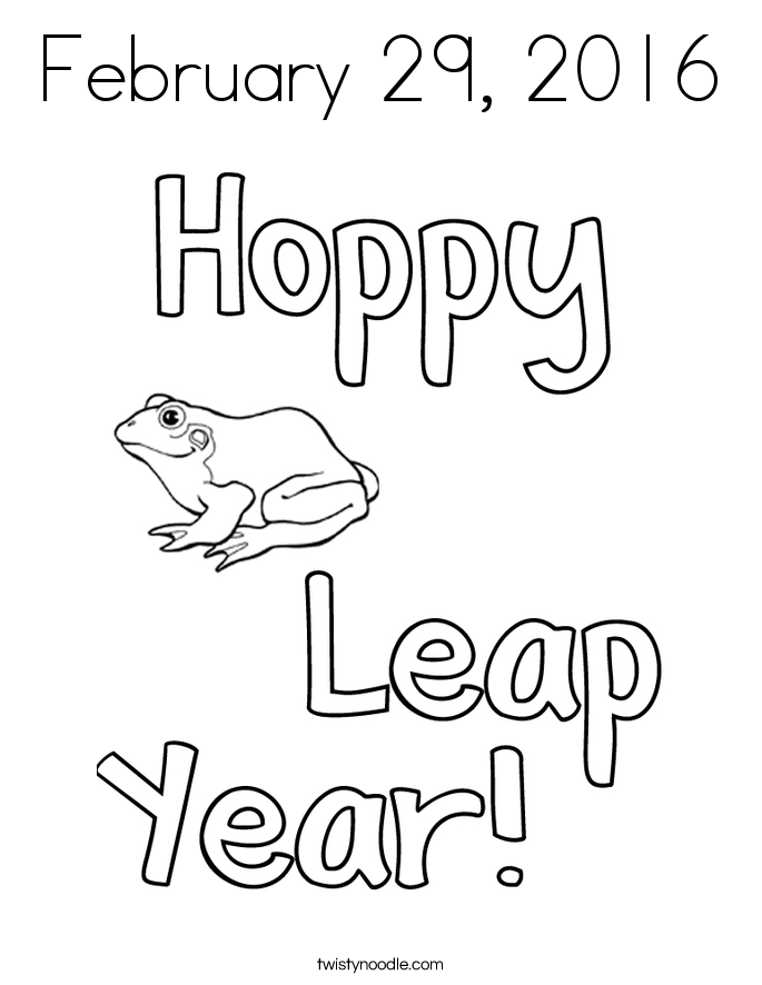 leap year coloring pages twisty noodle