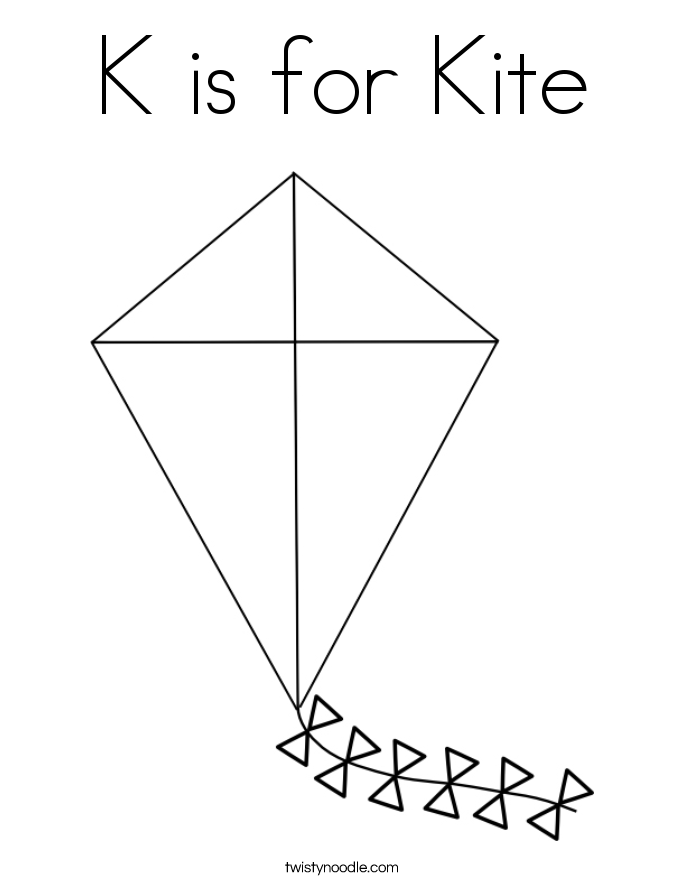 key coloring template k is for kite coloring page