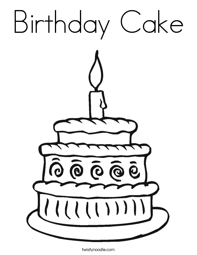 birthday cake coloring page twisty noodle