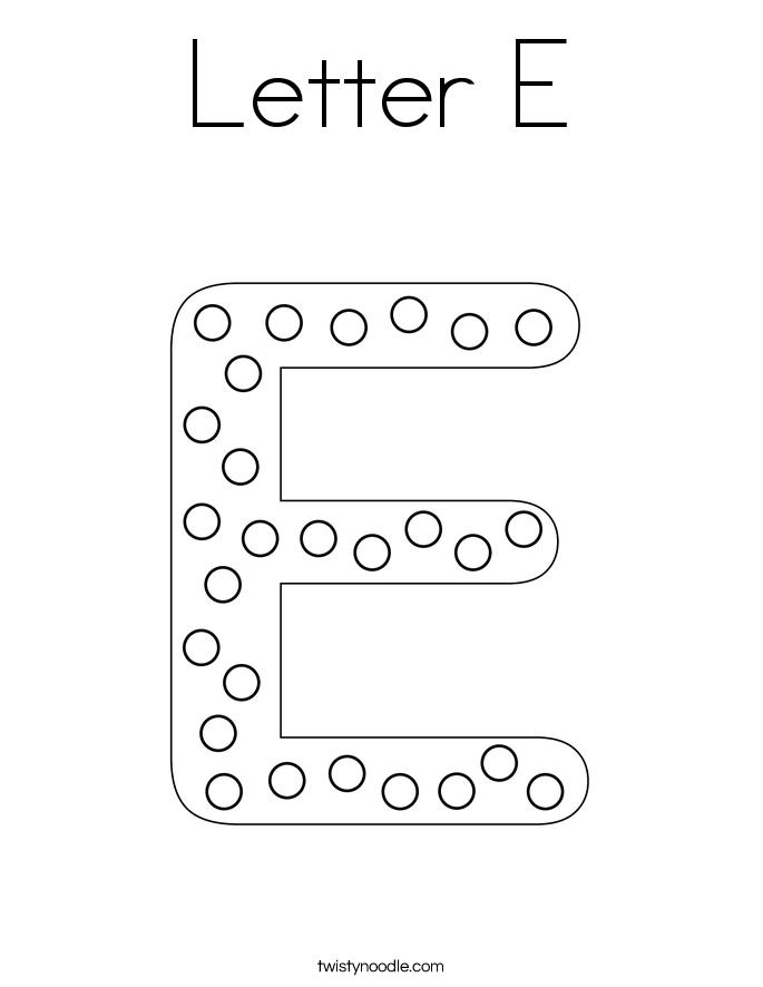 letter e coloring page twisty noodle