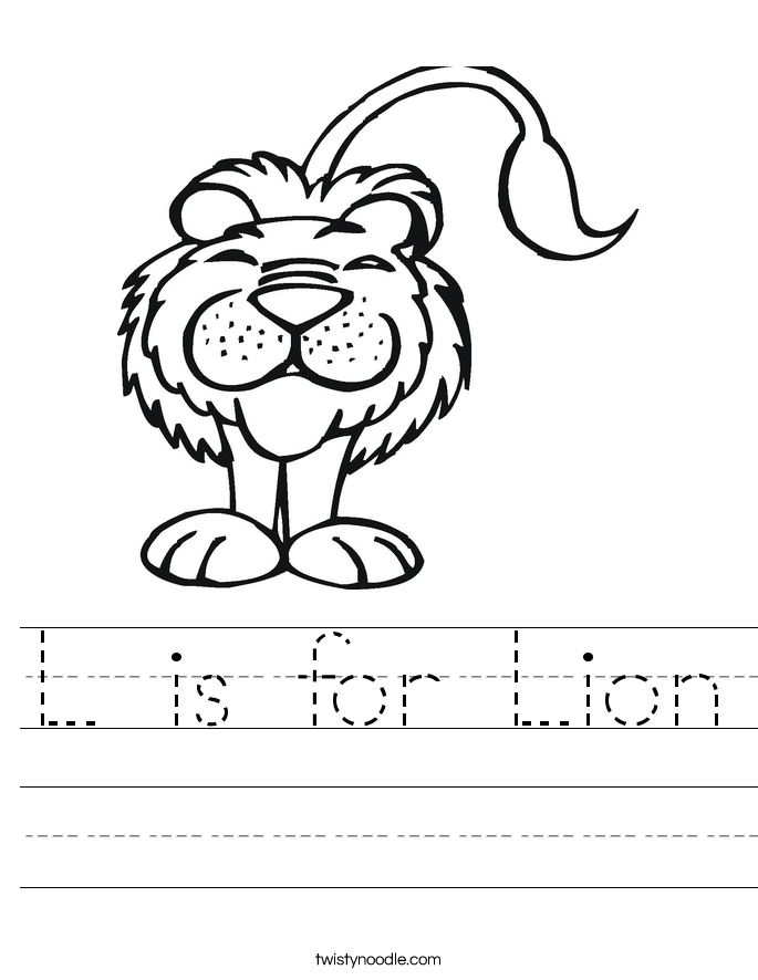 is for lion worksheet twisty noodle