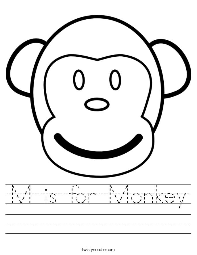 is for monkey worksheet twisty noodle