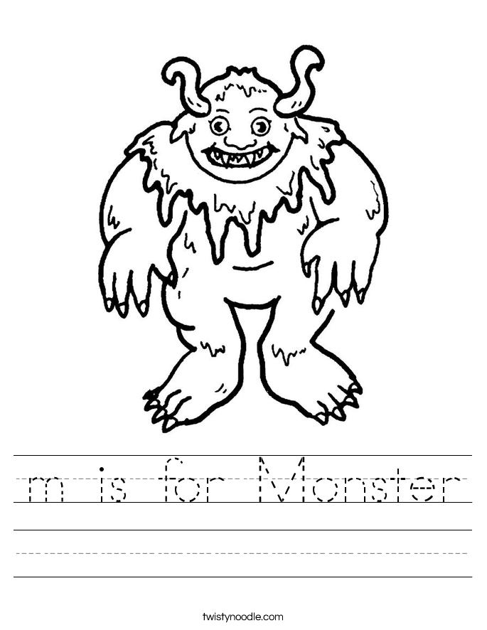 is for monster worksheet twisty noodle