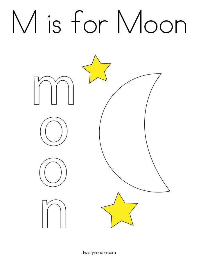 is for moon coloring page twisty noodle