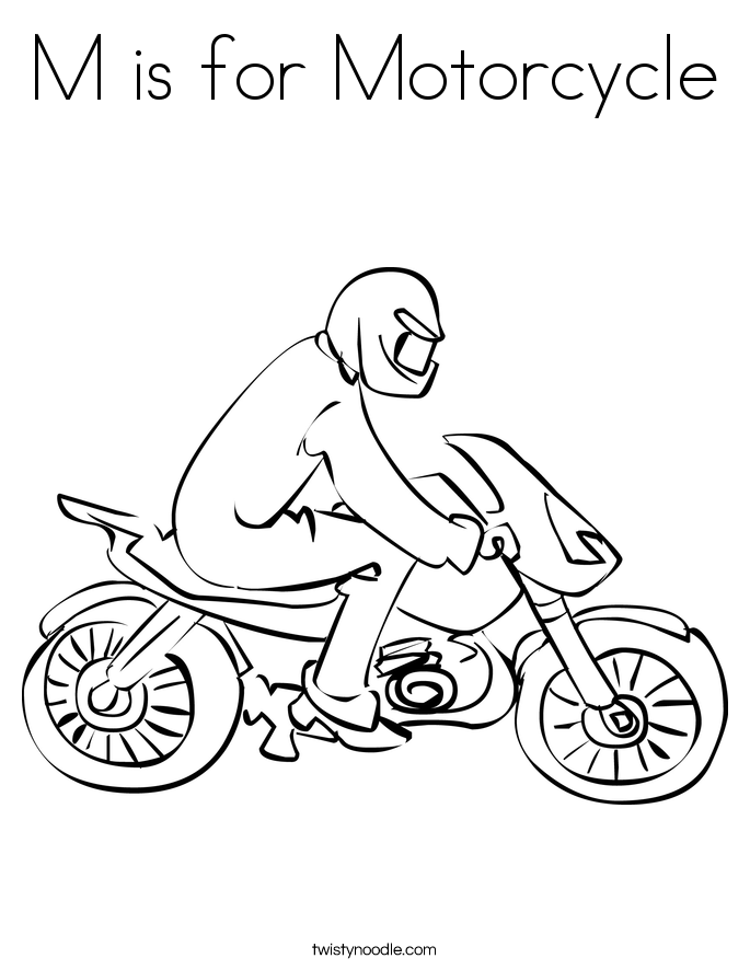 m is for motorcycle coloring page twisty noodle
