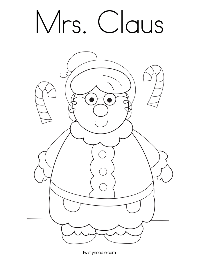 mrs claus coloring page twisty noodle