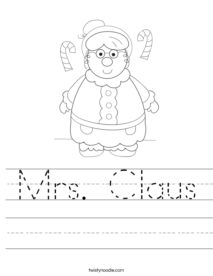 mrs claus worksheet twisty noodle