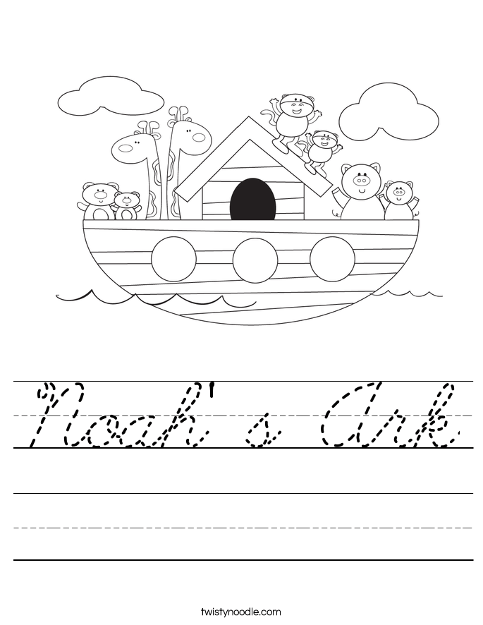 noah s ark worksheet cursive twisty noodle