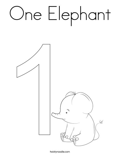 One Elephant Coloring Page Twisty Noodle