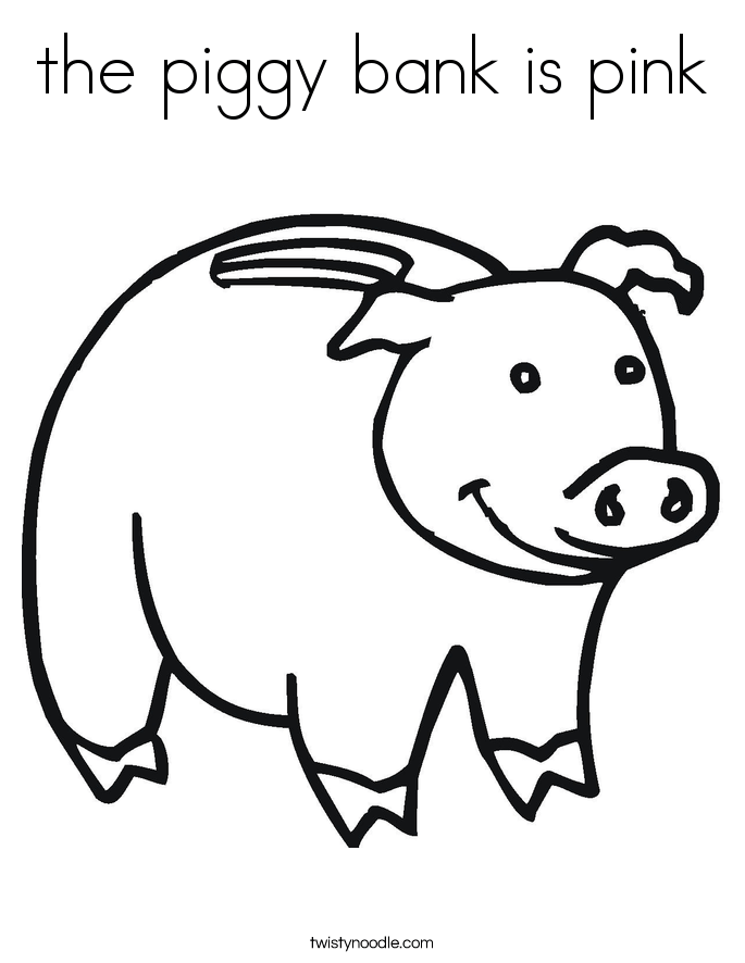 the piggy bank is pink coloring page twisty noodle