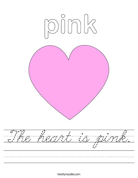the heart is pink worksheet cursive twisty noodle