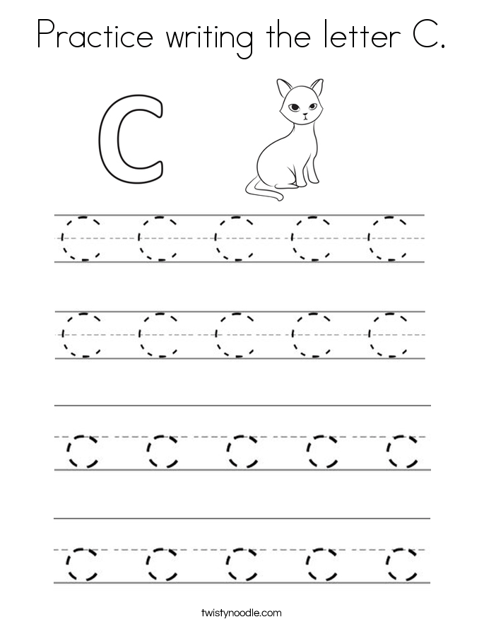 practice writing the letter c coloring page twisty noodle