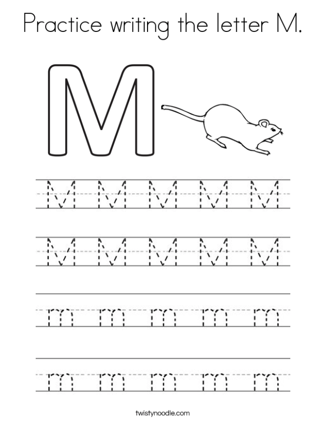 Practice Writing The Letter M Coloring Page