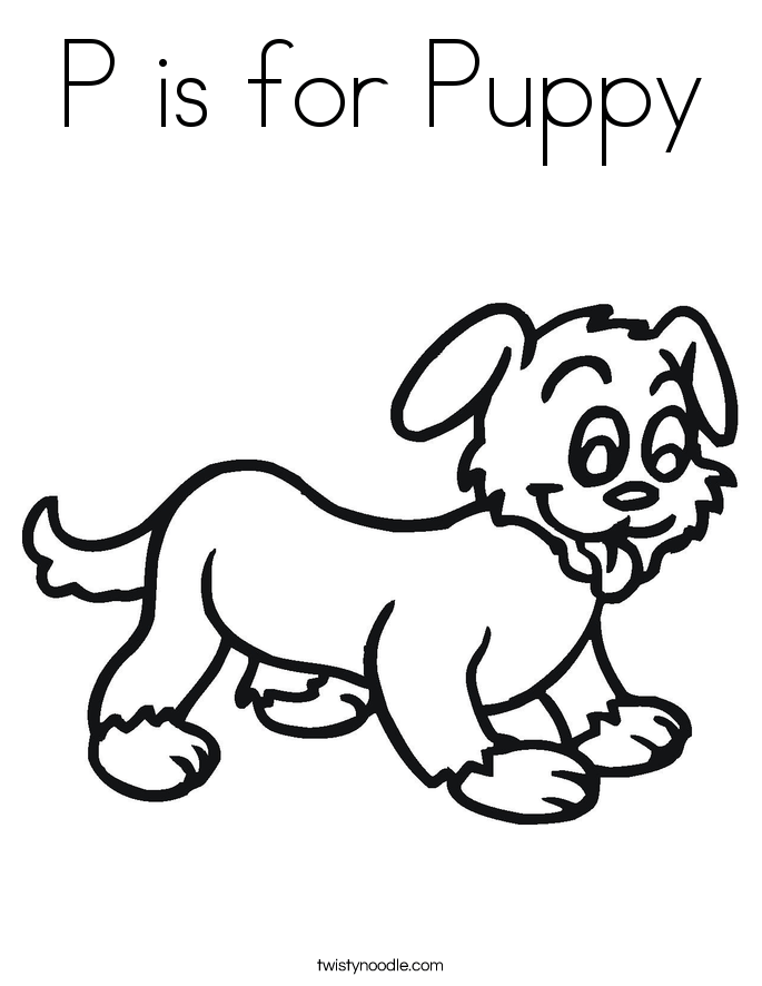 P Is For Puppy Coloring Page Twisty Noodle