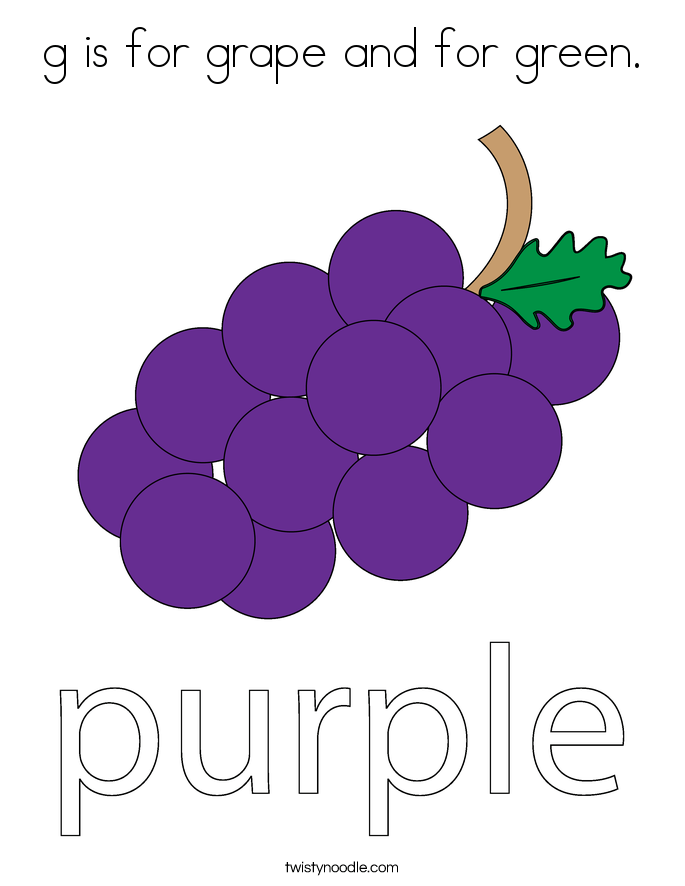 is for grape and for green coloring page twisty noodle