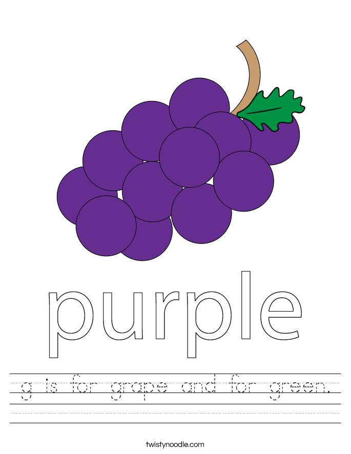 is for grape and for green worksheet twisty noodle