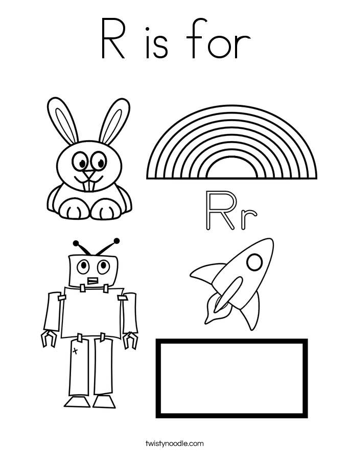 r is for coloring page  twisty noodle