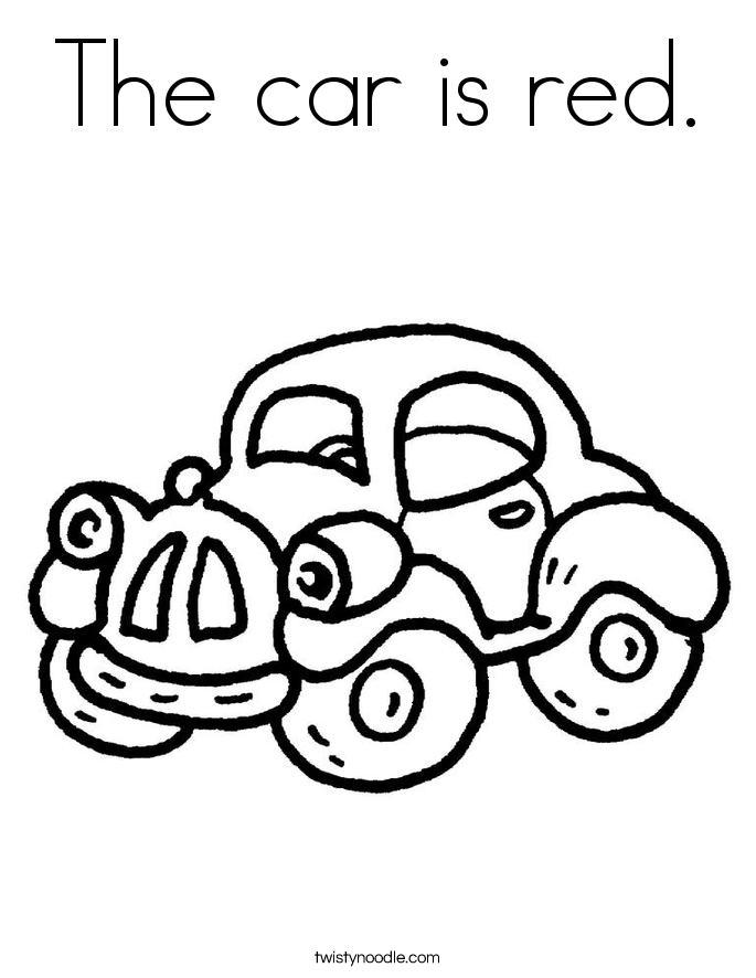 the car is red coloring page  twisty noodle