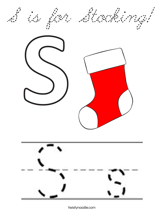 is for stocking page cursive twisty noodle