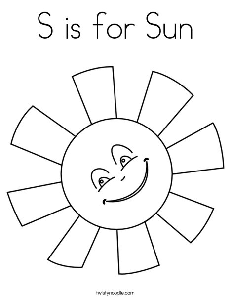 s is for sun coloring page twisty noodle