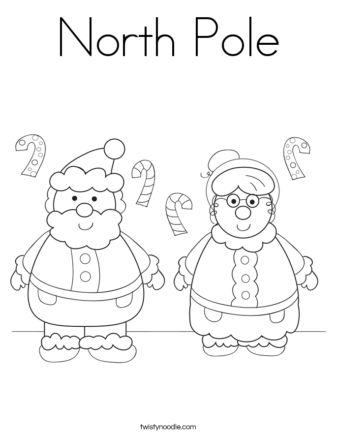 north pole coloring page twisty noodle