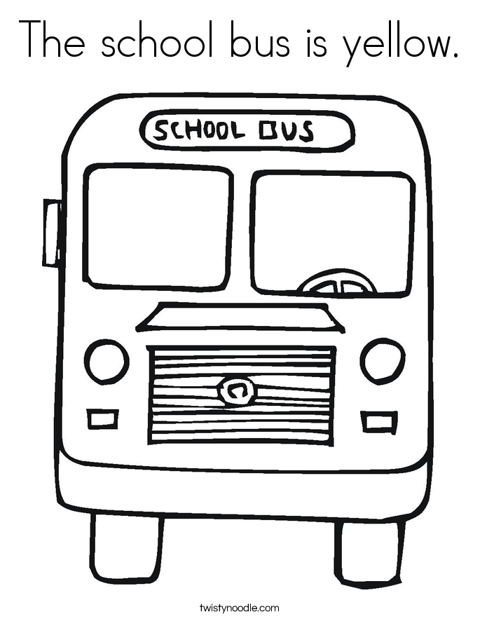 the school bus is yellow coloring page twisty noodle