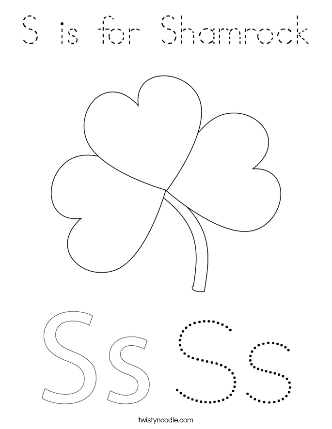 is for shamrock coloring page tracing twisty noodle