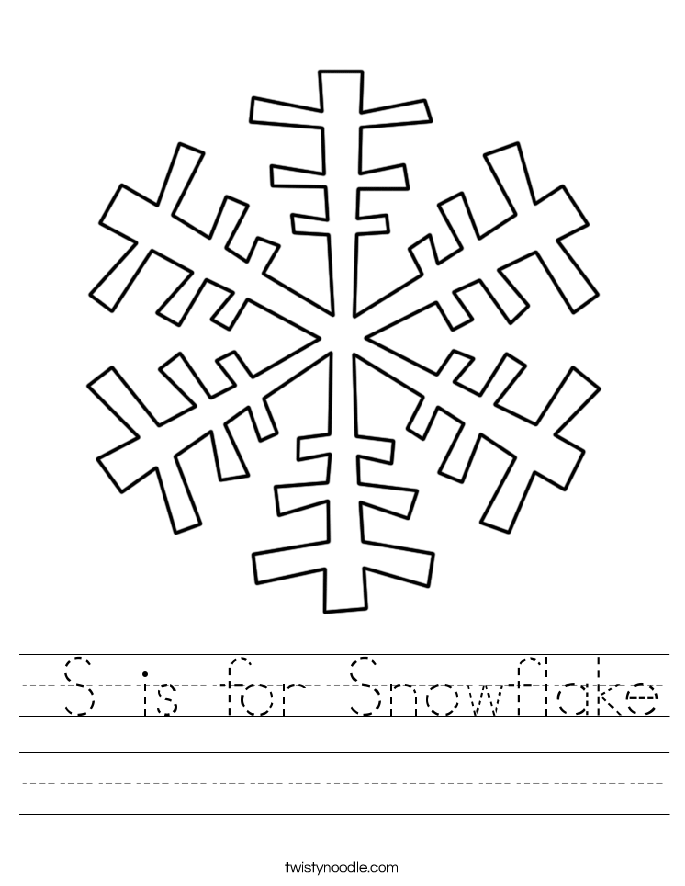 is for snowflake worksheet twisty noodle