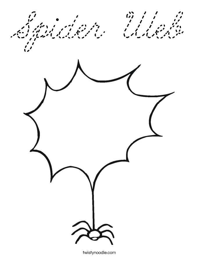 spider web coloring page cursive twisty noodle