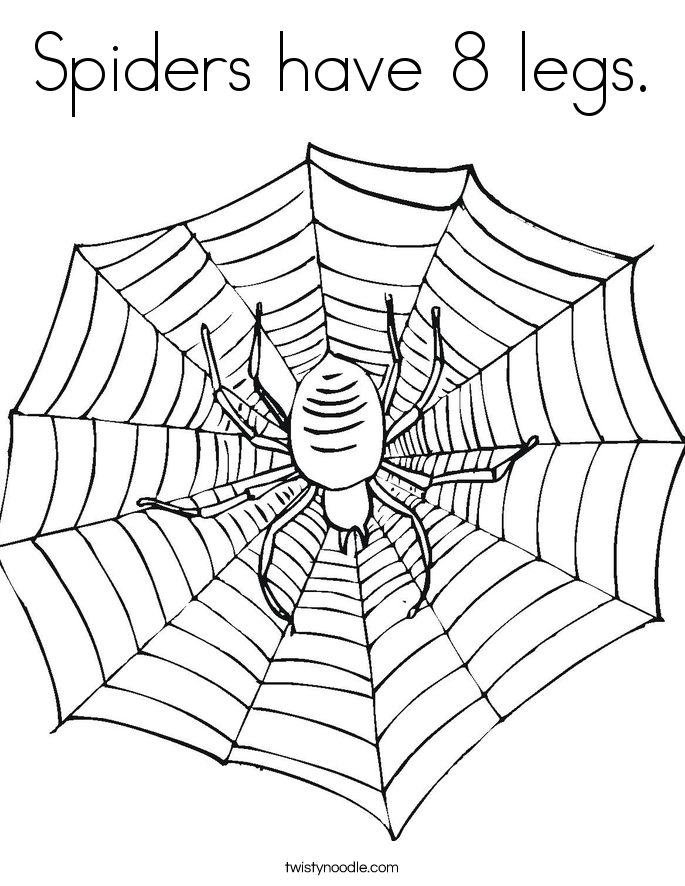 spiders have 8 legs coloring page twisty noodle